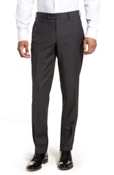 Ted Baker London Jefferson Flat Front Check Wool Trousers Charcoal