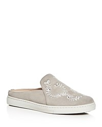 Via Spiga Rina Embroidered Suede Sneaker Mules Gray