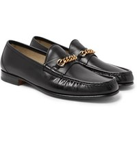 Tom Ford York Chain Trimmed Leather Loafers Black