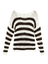 Saint Laurent Scoop Neck Striped Knit Sweater