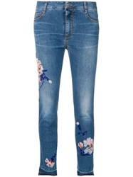 Ermanno Scervino Cropped Skinny Jeans With Floral Embellishments Blue
