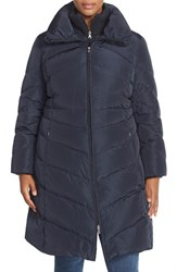 Plus Size Women's Jessica Simpson Knit Detail Quilted Down And Feather Fill Coat Navy