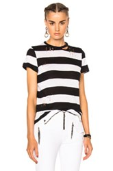 Amiri Cashmere Wide Stripe Tee In Black Stripes White Black Stripes White