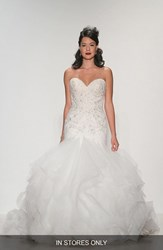Women's Matthew Christopher 'Adrianna' Embellished Strapless Tulle And Organza Gown In Stores Only