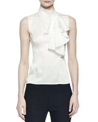 Alexander Mcqueen Sleeveless Satin Ruffled Top