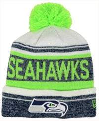 New Era Seattle Seahawks Snow Dayz Knit Hat A Macy's Exclusive Style Navy White Limegreen