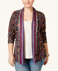 American Rag Plus Size Printed Open Front Cardigan Only At Macy's