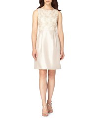 Tahari By Arthur S. Levine Petite Skirted Floral Lace Sheath Dress Champagne