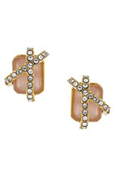 Women's Louise Et Cie Stone And Crystal Stud Earrings Gold Rose Crystal