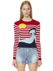 Red Valentino Viscose Knit Intarsia Wave Sweater