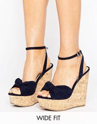 Asos Traffic Jam Wide Fit Wedges Navy