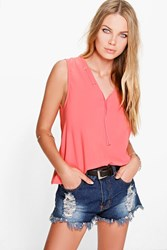 Boohoo Lace Up Neck Detail V Neck Shell Rust