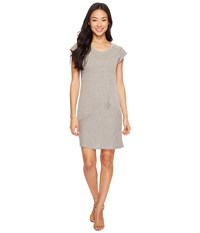 Mod O Doc Pinstripe Jersey Asymmetrical Twist Front T Shirt Dress Grey Women's Dress Gray