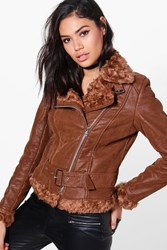Boohoo Belted Aviator Jacket Tan