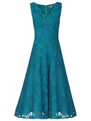 Jolie Moi Scalloped Lace Prom Dress Teal