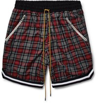 Rhude Checked Cotton Drawstring Shorts Gray