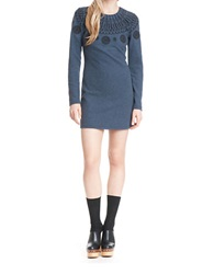 Plenty By Tracy Reese Embroidered Fitted Knit Dress Navy Melan