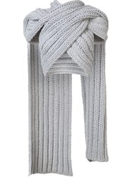 Christian Siriano Knitted Wrap Crop Top Grey