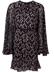 Giambattista Valli Floral Print Sheer Dress Black