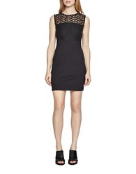French Connection Chelsea Embroidered Illusion Sheath Dress Black