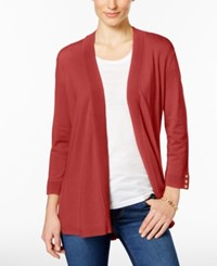 Charter Club Button Cuff Cardigan Only At Macy's New Coral