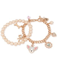 Betsey Johnson Rose Gold Tone 2 Pc. Set Imitation Pearl And Dog Charm Bracelets Pink