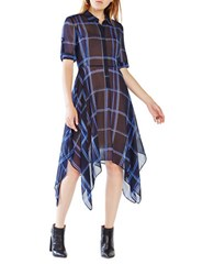 Bcbgmaxazria Beatryce Plaid Silk Shirt Dress Dark Navy Combo
