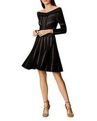 Karen Millen Lace Knit Off The Shoulder Dress Black Multi