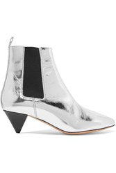 Isabel Marant Dawell Metallic Leather Ankle Boots Silver