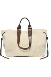 Isabel Marant Wardym Leather Trimmed Shearling Tote Cream