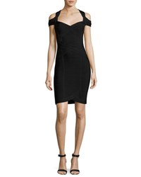 Herve Leger Katlin Cold Shoulder Bandage Dress Black