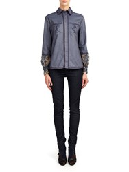 Alexis Mabille Chambray Shirt With Braided Details And Lace Cuffs Blue
