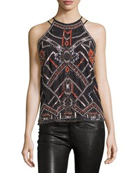 Parker Neil Beaded Halter Top Black