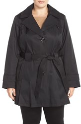 Plus Size Women's Via Spiga 'Scarpa' Single Breasted Hooded Trench Coat