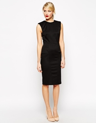 Asos Midi Pencil Dress In Rib With Structured Shoulder Black