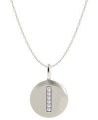 Macy's 14K White Gold Necklace Diamond Accent Letter I Disk Pendant