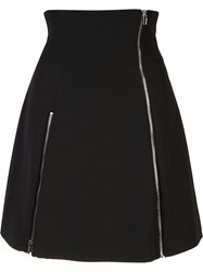 Jeremy Scott Zip Detail Flare Skirt Black