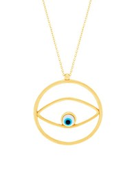 Lord And Taylor Sterling Silver Evil Eye Pendant Necklace Gold