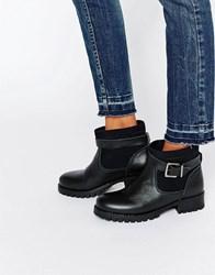 Pieces Vaha Chunky Biker Boots Black Leather