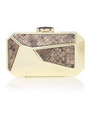 Biba Geometric Box Clutch Gold