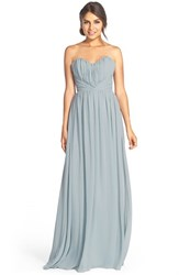 Women's Jim Hjelm Occasions Strapless Chiffon Sweetheart A Line Gown Silver