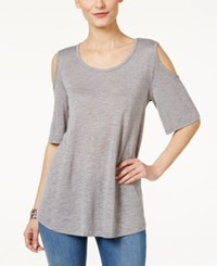 Styleandco. Style Co. Cold Shoulder Flutter Sleeve Top Only At Macy's Grey