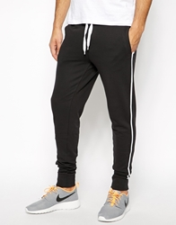 Asos Skinny Sweatpants With Sports Stripe Black