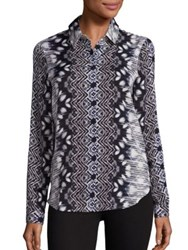 Tart James Printed Silk Shirt Spliced Tie Dye