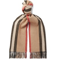 Burberry Fringed Striped Cashmere Scarf Neutrals