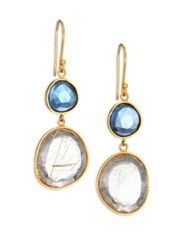 Lena Skadegard Moss Aquarmaine Rutilated Quartz And 18K Yellow Gold Drop Earrings Gold Blue