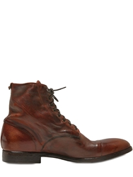 Rolando Sturlini Washed Leather Lace Up Boots Light Brown