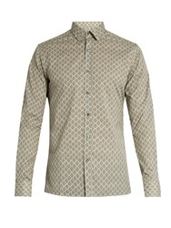 Lanvin Tile Print Cotton Shirt Grey Multi