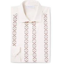 Etro Slim Fit Embellished Cotton And Silk Blend Shirt Cream
