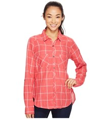 Columbia Trail On Long Sleeve Shirt Sunset Red Women's Long Sleeve Button Up Multi